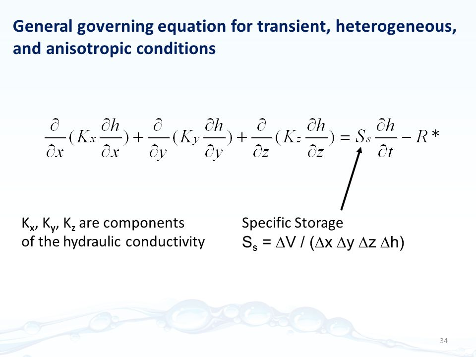 General governing equation for transient, heterogeneous, and anisotropic conditions Specific Storage S s =  V / (  x  y  z  h) K x, K y, K z are components of the hydraulic conductivity 34