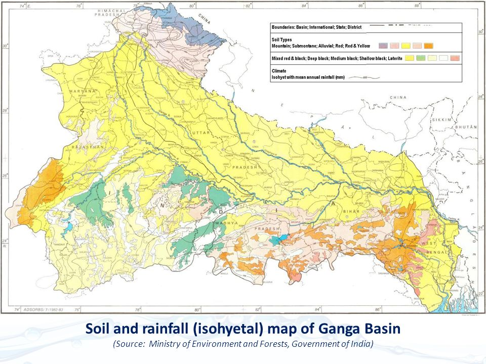 Soil and rainfall (isohyetal) map of Ganga Basin (Source: Ministry of Environment and Forests, Government of India)