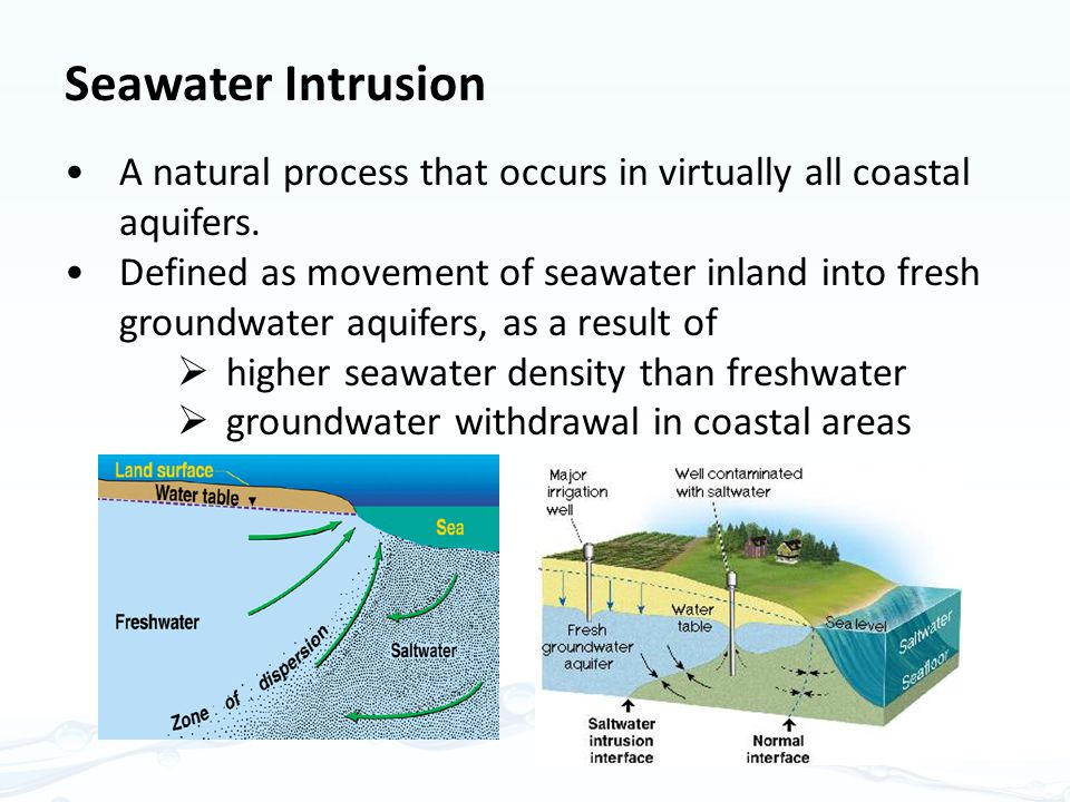 Seawater Intrusion A natural process that occurs in virtually all coastal aquifers.