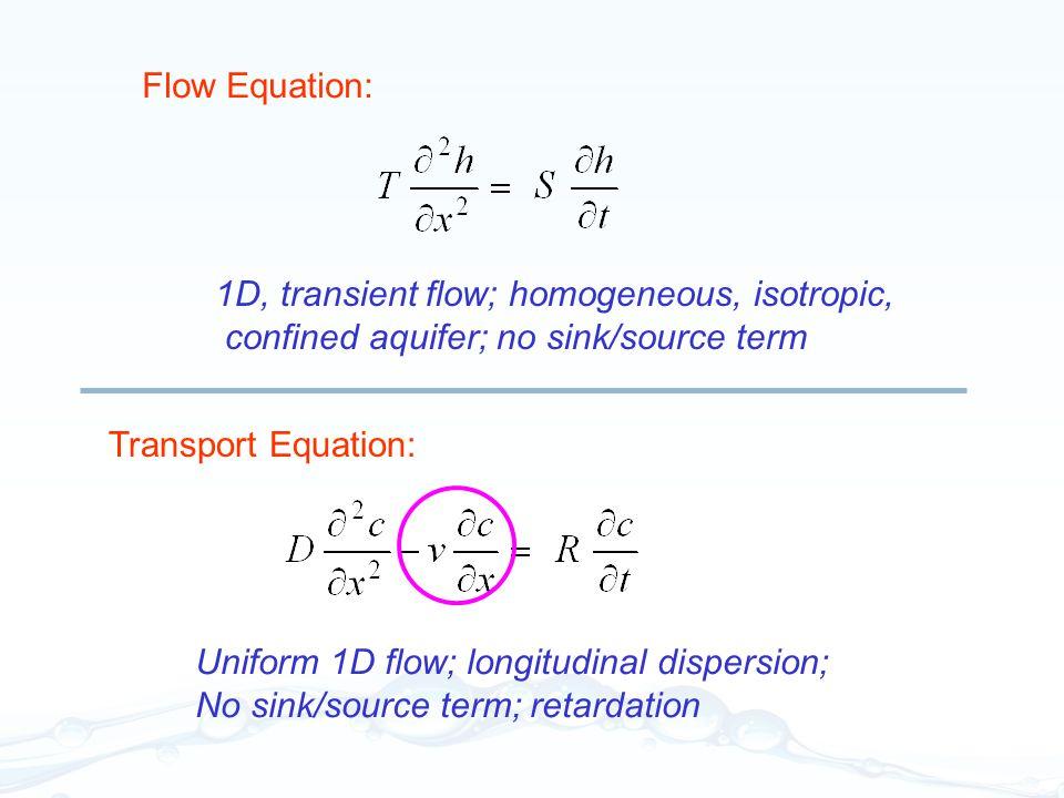 1D, transient flow; homogeneous, isotropic, confined aquifer; no sink/source term Flow Equation: Transport Equation: Uniform 1D flow; longitudinal dis