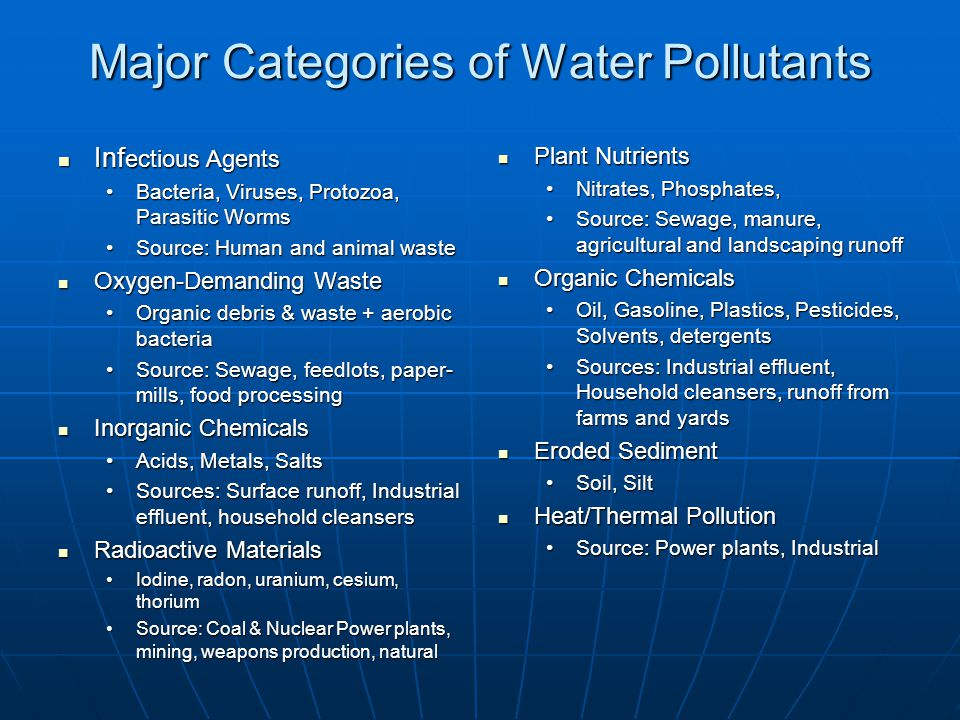 Laws for Reducing Point Source Pollution Clean Water Act Clean Water Act Water Quality Act Water Quality Act