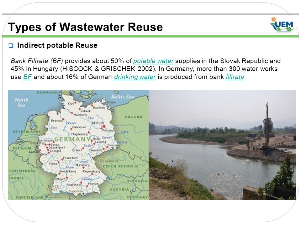 Types of Wastewater Reuse  Indirect potable Reuse Bank Filtrate (BF) provides about 50% of potable water supplies in the Slovak Republic and 45% in Hungary (HISCOCK & GRISCHEK 2002).