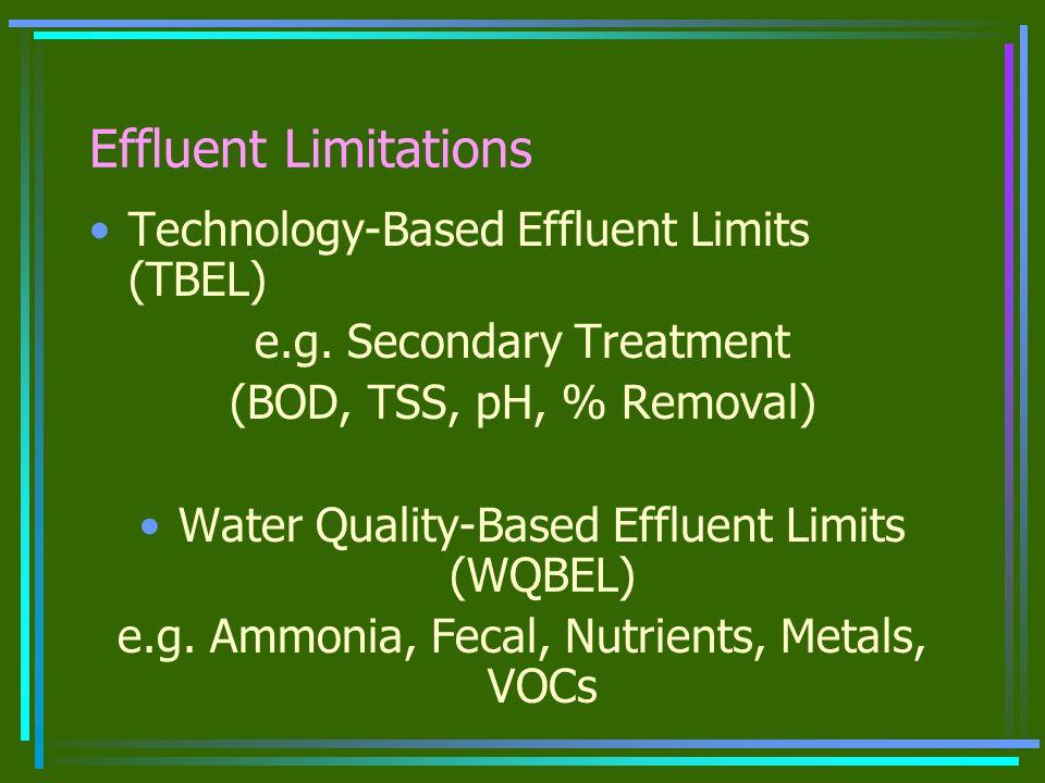 Effluent Limitations Technology-Based Effluent Limits (TBEL) e.g.