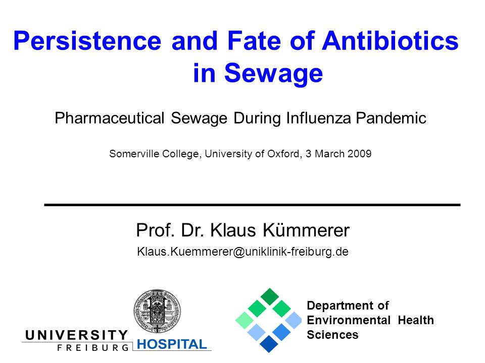 Persistence and Fate of Antibiotics in Sewage Prof.