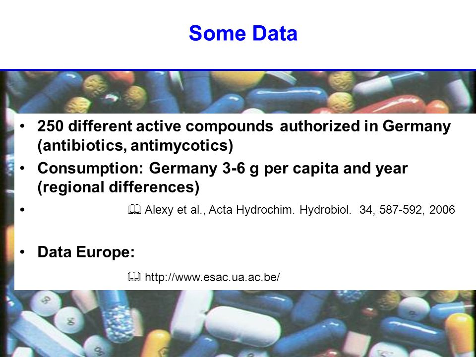 Some Data 250 different active compounds authorized in Germany (antibiotics, antimycotics) Consumption: Germany 3-6 g per capita and year (regional differences) Data Europe:  Alexy et al., Acta Hydrochim.