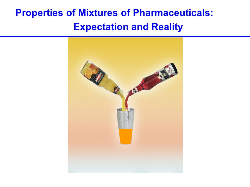 Properties of Mixtures of Pharmaceuticals: Expectation and Reality
