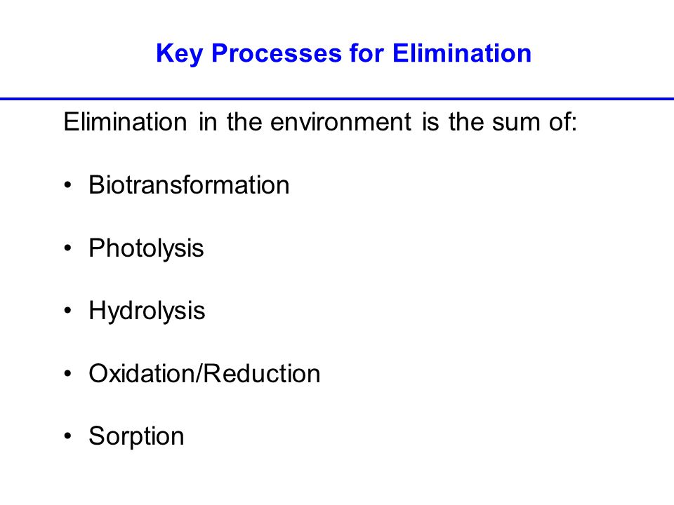 Elimination in the environment is the sum of: Biotransformation Photolysis Hydrolysis Oxidation/Reduction Sorption Key Processes for Elimination