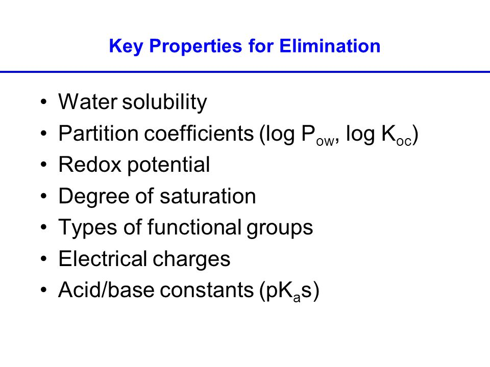 Key Properties for Elimination Water solubility Partition coefficients (log P ow, log K oc ) Redox potential Degree of saturation Types of functional groups Electrical charges Acid/base constants (pK a s)
