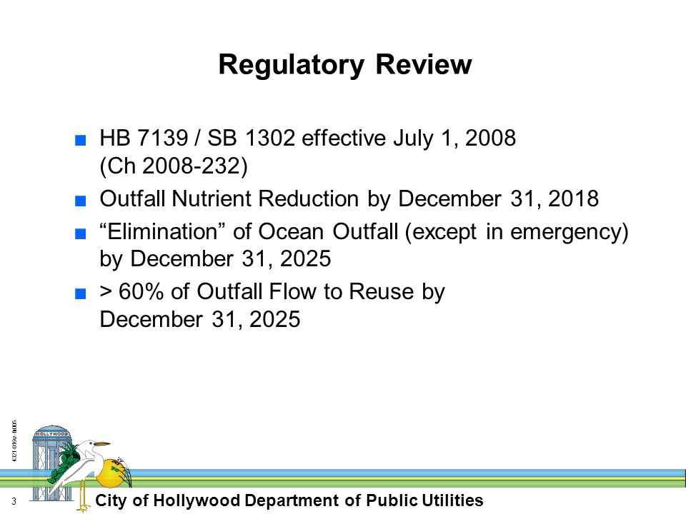 City of Hollywood Department of Public Utilities 4321-016w-fn005 24 Floridan Aquifer Discharge ■Indirect Potable Reuse Option ■Class G-II Ground Water (F.A.C.