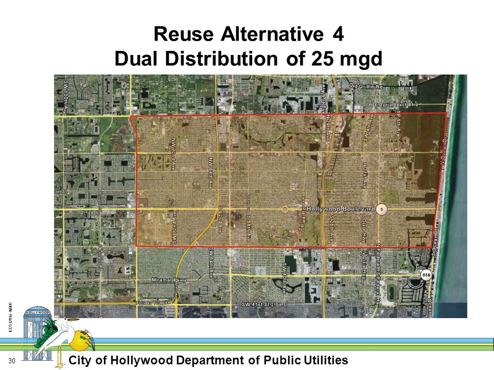 City of Hollywood Department of Public Utilities 4321-016w-fn005 30 Reuse Alternative 4 Dual Distribution of 25 mgd
