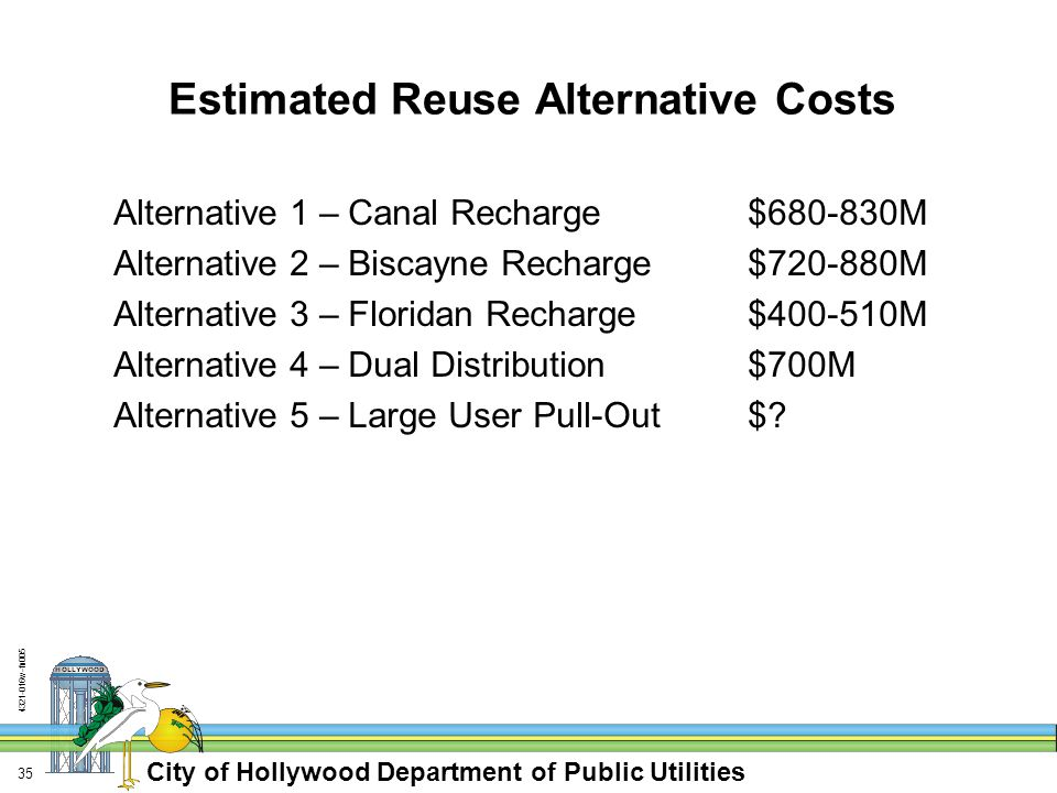 City of Hollywood Department of Public Utilities w-fn Estimated Reuse Alternative Costs Alternative 1 – Canal Recharge $ M Alternative 2 – Biscayne Recharge$ M Alternative 3 – Floridan Recharge$ M Alternative 4 – Dual Distribution$700M Alternative 5 – Large User Pull-Out$