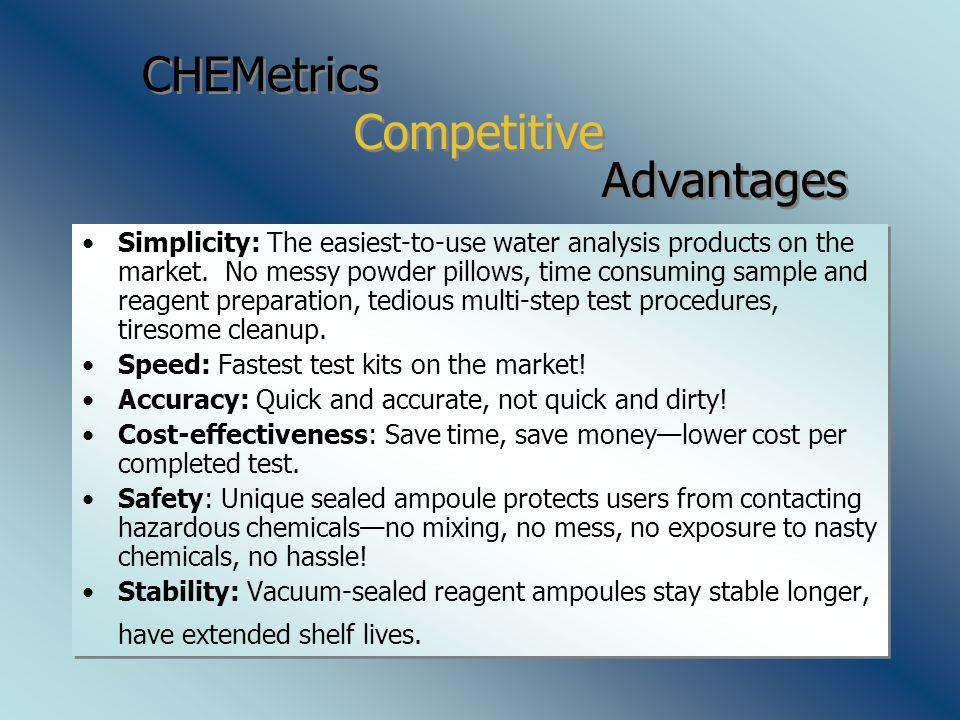 CHEMetrics Simplicity: The easiest-to-use water analysis products on the market.