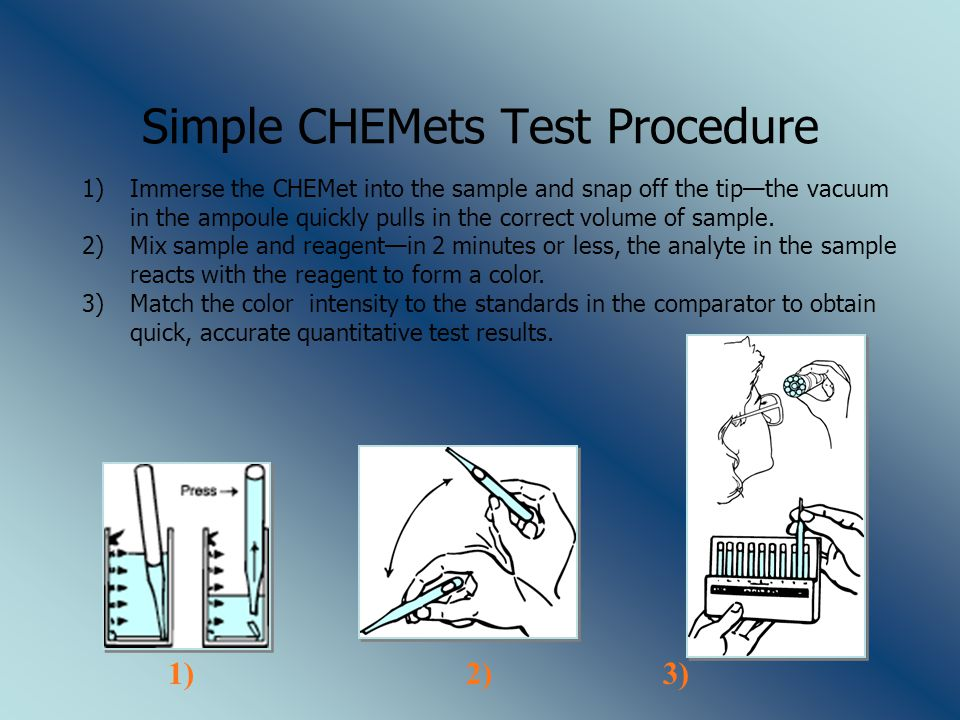 Simple CHEMets Test Procedure 1)Immerse the CHEMet into the sample and snap off the tip—the vacuum in the ampoule quickly pulls in the correct volume of sample.