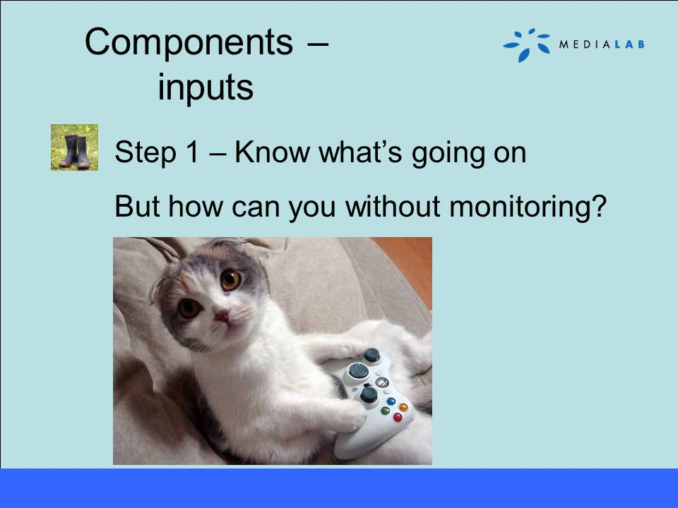 Components – inputs Step 1 – Know what's going on But how can you without monitoring