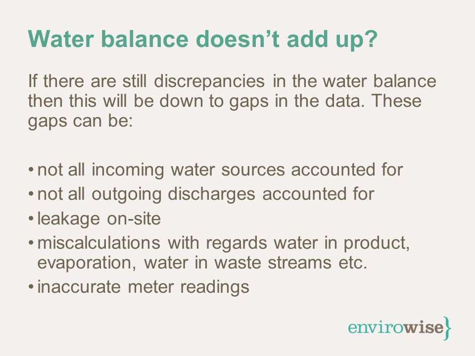 Water balance doesn't add up.
