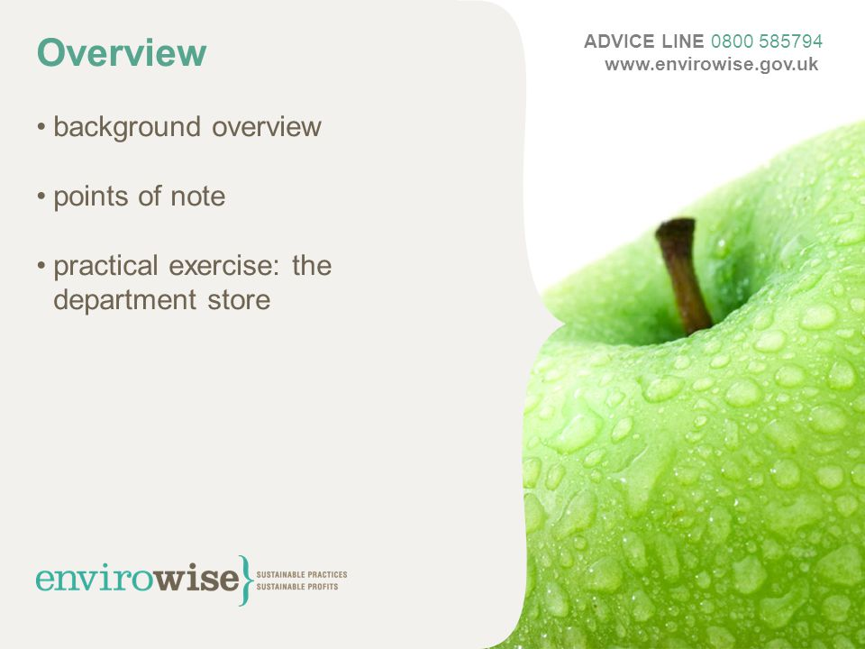 Overview background overview points of note practical exercise: the department store ADVICE LINE 0800 585794 www.envirowise.gov.uk