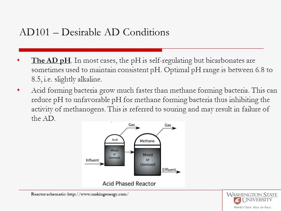 AD101 – Desirable AD Conditions The AD pH. In most cases, the pH is self-regulating but bicarbonates are sometimes used to maintain consistent pH. Opt