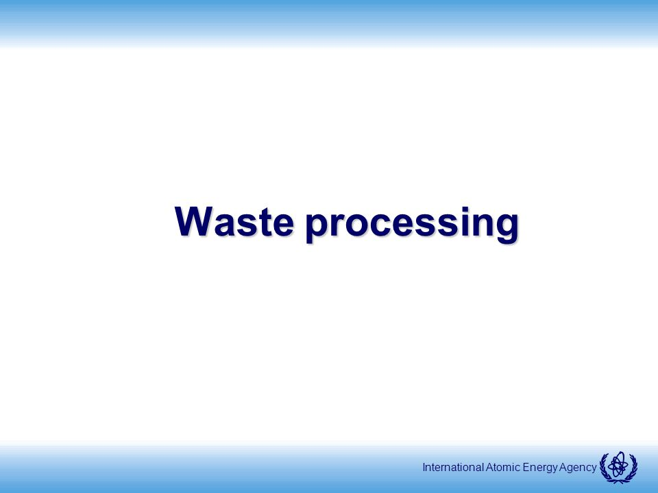 International Atomic Energy Agency Waste processing