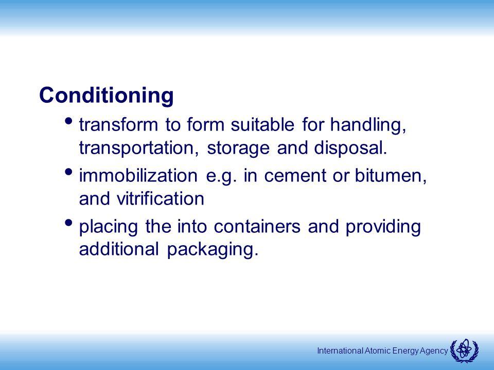 International Atomic Energy Agency Waste packaging and handling (8) Final disposal