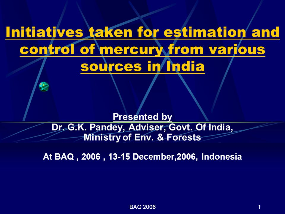 BAQ 20061 Initiatives taken for estimation and control of mercury from various sources in India Presented by Dr.