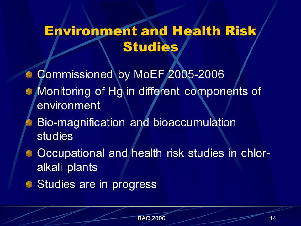 BAQ 200614 Environment and Health Risk Studies Commissioned by MoEF 2005-2006 Monitoring of Hg in different components of environment Bio-magnification and bioaccumulation studies Occupational and health risk studies in chlor- alkali plants Studies are in progress