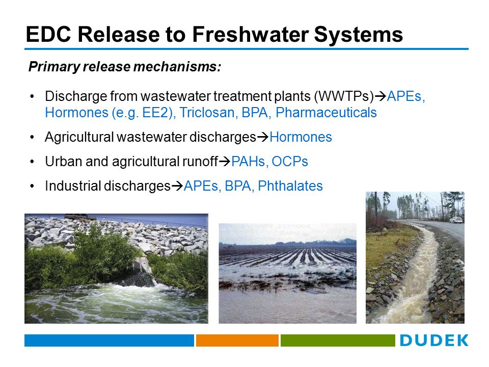 EDC Release to Freshwater Systems Discharge from wastewater treatment plants (WWTPs)  APEs, Hormones (e.g.