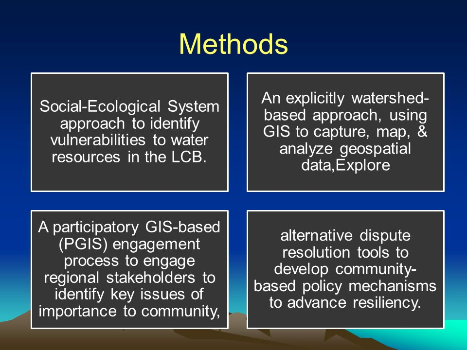 Methods Social-Ecological System approach to identify vulnerabilities to water resources in the LCB.