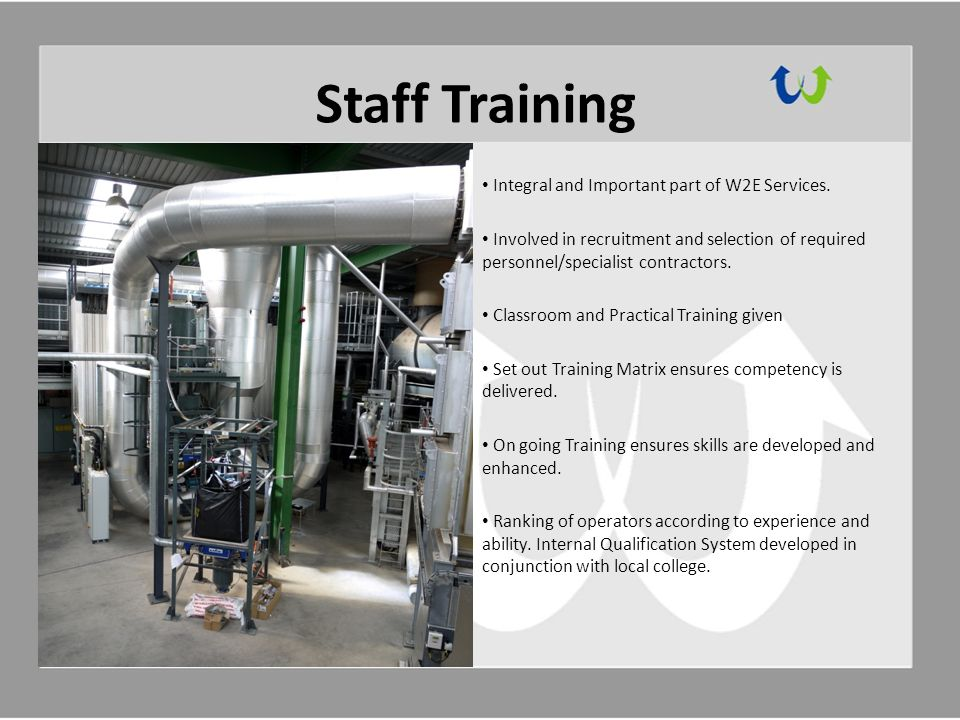 Staff Training Integral and Important part of W2E Services.