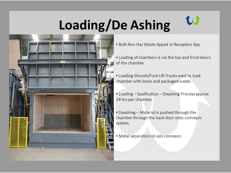 Loading/De Ashing Bulk Non Haz Waste tipped in Reception Bay.