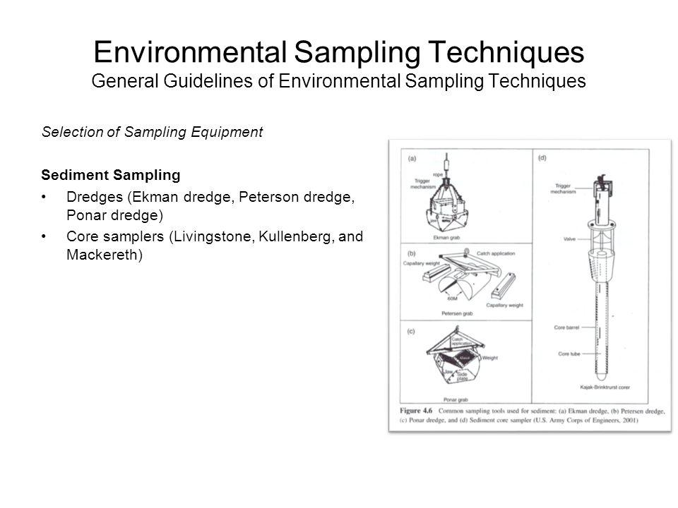 Environmental Sampling Techniques General Guidelines of Environmental Sampling Techniques Selection of Sampling Equipment Sediment Sampling Dredges (E