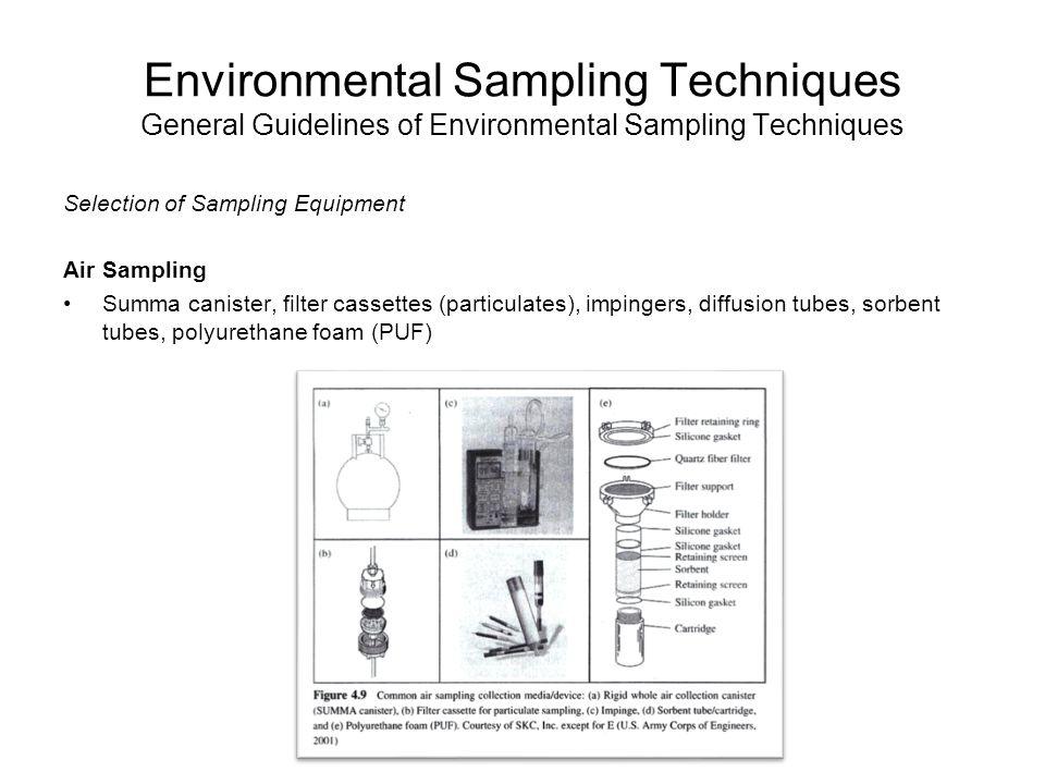 Environmental Sampling Techniques General Guidelines of Environmental Sampling Techniques Selection of Sampling Equipment Air Sampling Summa canister,