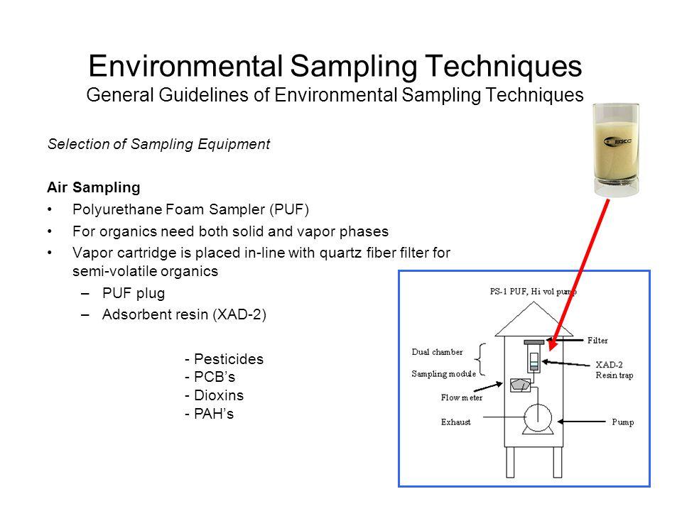 Environmental Sampling Techniques General Guidelines of Environmental Sampling Techniques Selection of Sampling Equipment Air Sampling Polyurethane Fo