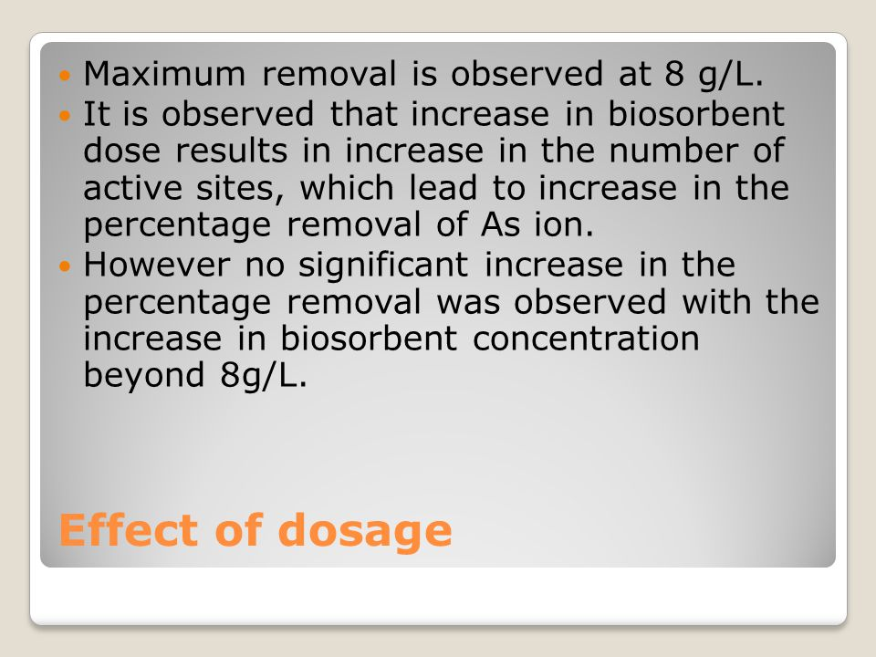 Effect of dosage Maximum removal is observed at 8 g/L. It is observed that increase in biosorbent dose results in increase in the number of active sit