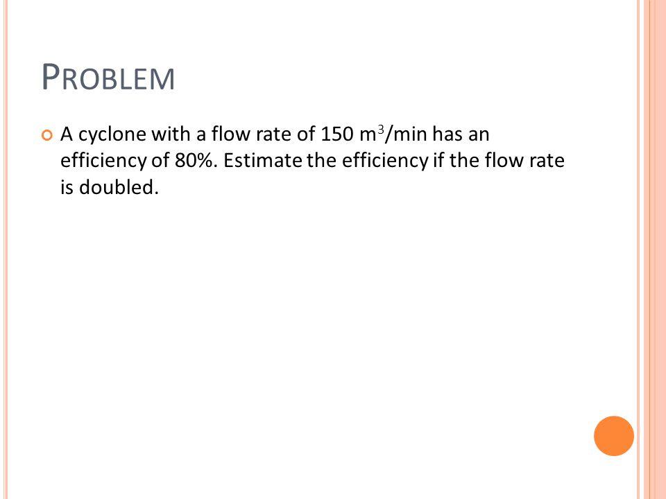 S OLUTION Step 1 Q1 = 150 m 3 /min Q2 = 300 m 3 /min Pt 1 = 100% - 80% = 20% Pt 2 /Pt 1 = (Q 1 /Q 2 ) 0.5 Step 2 Final Efficiency = 1- Pt 2 = 86%