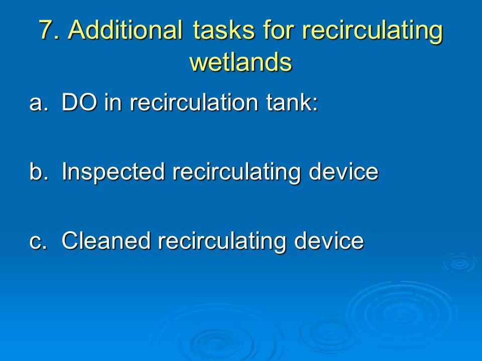 7. Additional tasks for recirculating wetlands a.DO in recirculation tank: b.Inspected recirculating device c.Cleaned recirculating device