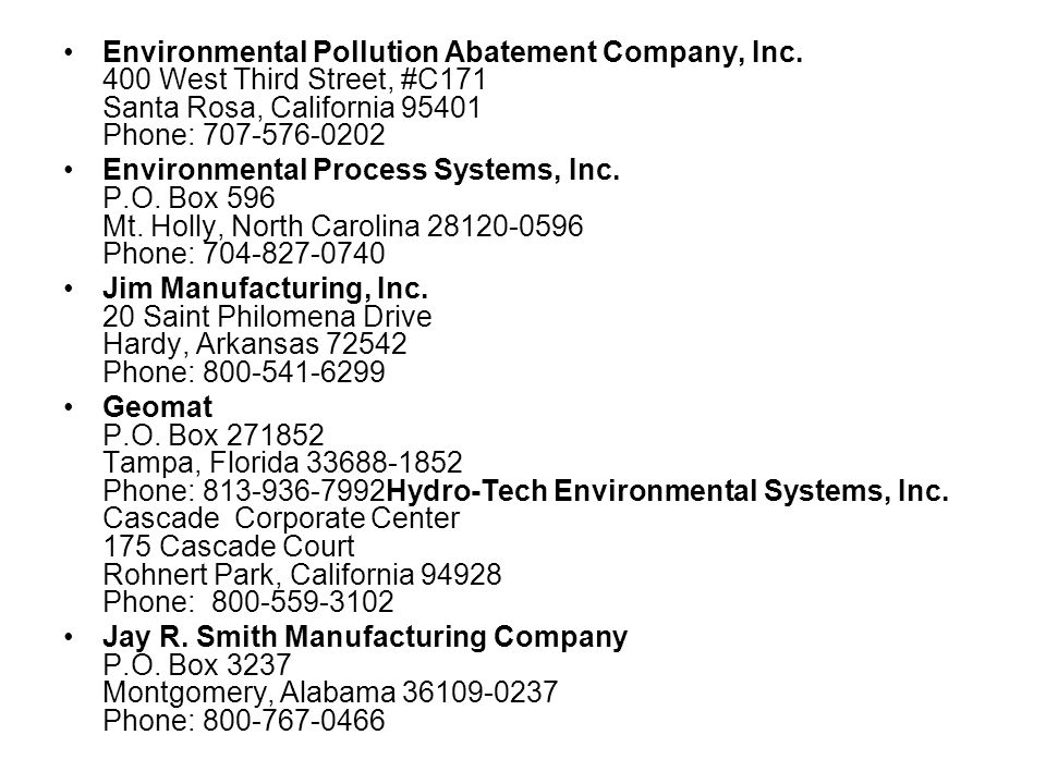 Equipment Vendors Advanced Environmental Solutions, Inc. 8643 South 212th Street Kent, Washington 98301 Phone: 800-275-3549 American Made Cleaners, In