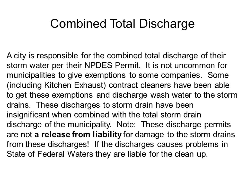 NPDES Permits Phase I and Phase II NPDES Permits are not General Permits, but are tailored to each area. Therefore, comparison on some items may be di