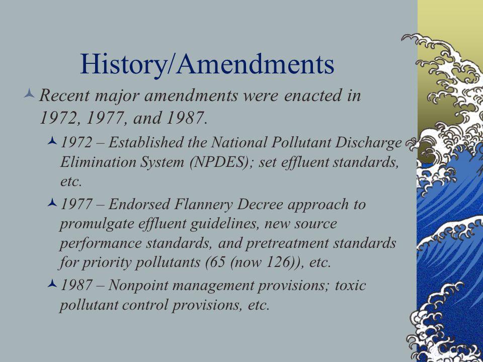 History/Amendments Recent major amendments were enacted in 1972, 1977, and 1987.
