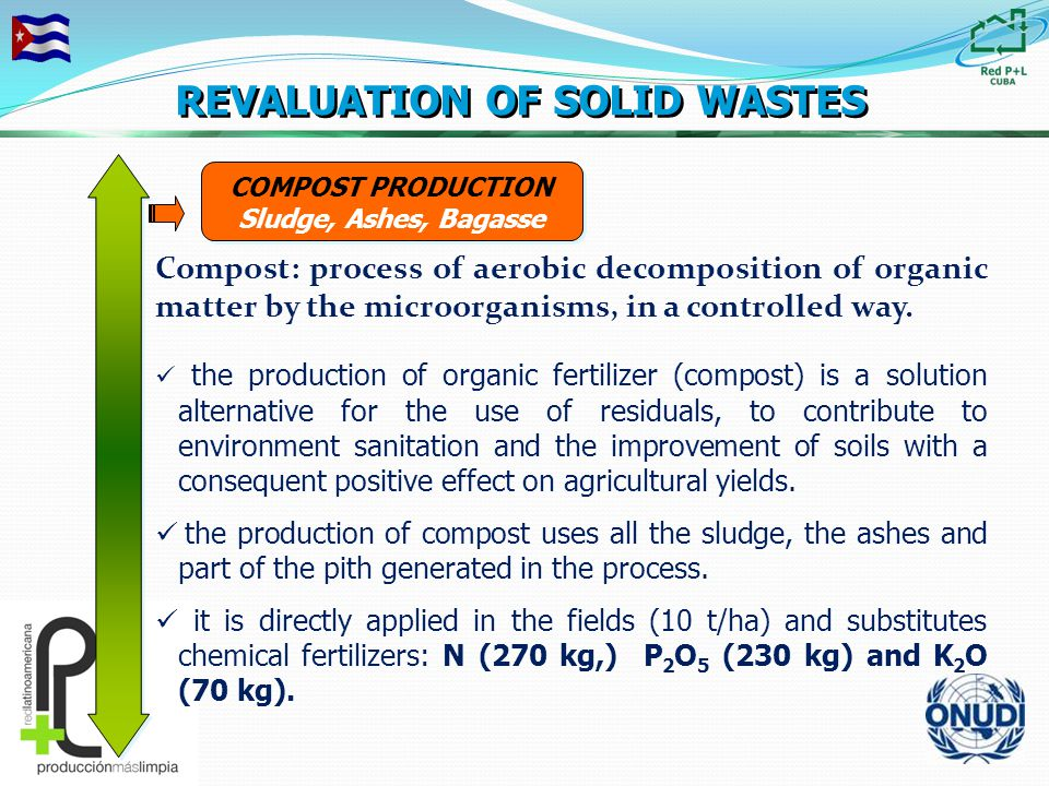 COMPOST PRODUCTION Sludge, Ashes, Bagasse COMPOST PRODUCTION Sludge, Ashes, Bagasse REVALUATION OF SOLID WASTES Compost: process of aerobic decomposition of organic matter by the microorganisms, in a controlled way.