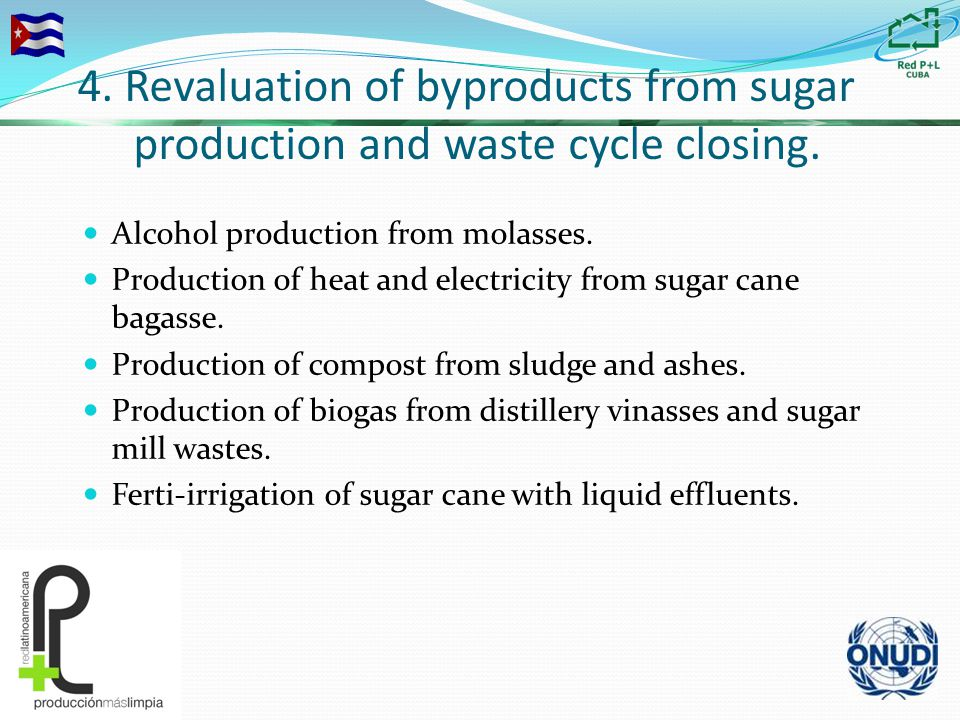 4. Revaluation of byproducts from sugar production and waste cycle closing.