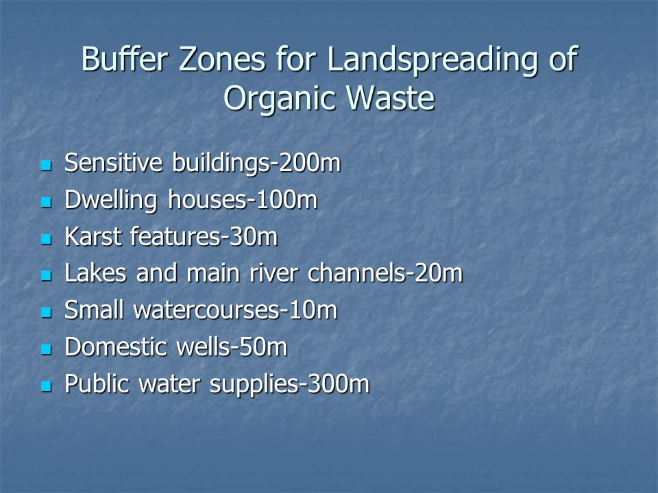 Buffer Zones for Landspreading of Organic Waste Sensitive buildings-200m Sensitive buildings-200m Dwelling houses-100m Dwelling houses-100m Karst features-30m Karst features-30m Lakes and main river channels-20m Lakes and main river channels-20m Small watercourses-10m Small watercourses-10m Domestic wells-50m Domestic wells-50m Public water supplies-300m Public water supplies-300m