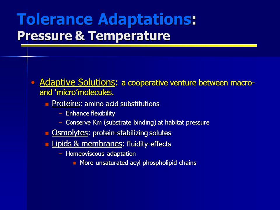 Tolerance Adaptations: Pressure & Temperature Adaptive Solutions: a cooperative venture between macro- and 'micro'molecules.Adaptive Solutions: a coop