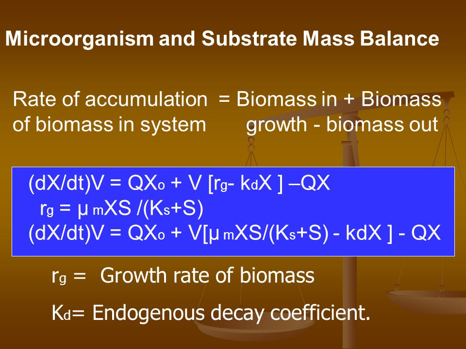 Microorganism and Substrate Mass Balance Rate of accumulation = Biomass in + Biomass of biomass in system growth - biomass out (dX/dt)V = QX o + V [r g - k d X ] –QX r g = μ m XS /(K s +S) (dX/dt)V = QX o + V[μ m XS/(K s +S) - kdX ] - QX r g = Growth rate of biomass K d = Endogenous decay coefficient.