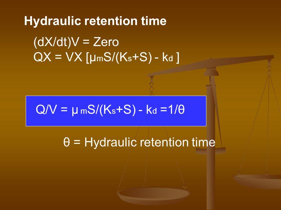 (dX/dt)V = Zero QX = VX [μ m S/(K s +S) - k d ] Q/V = μ m S/(K s +S) - k d =1/θ θ = Hydraulic retention time Hydraulic retention time