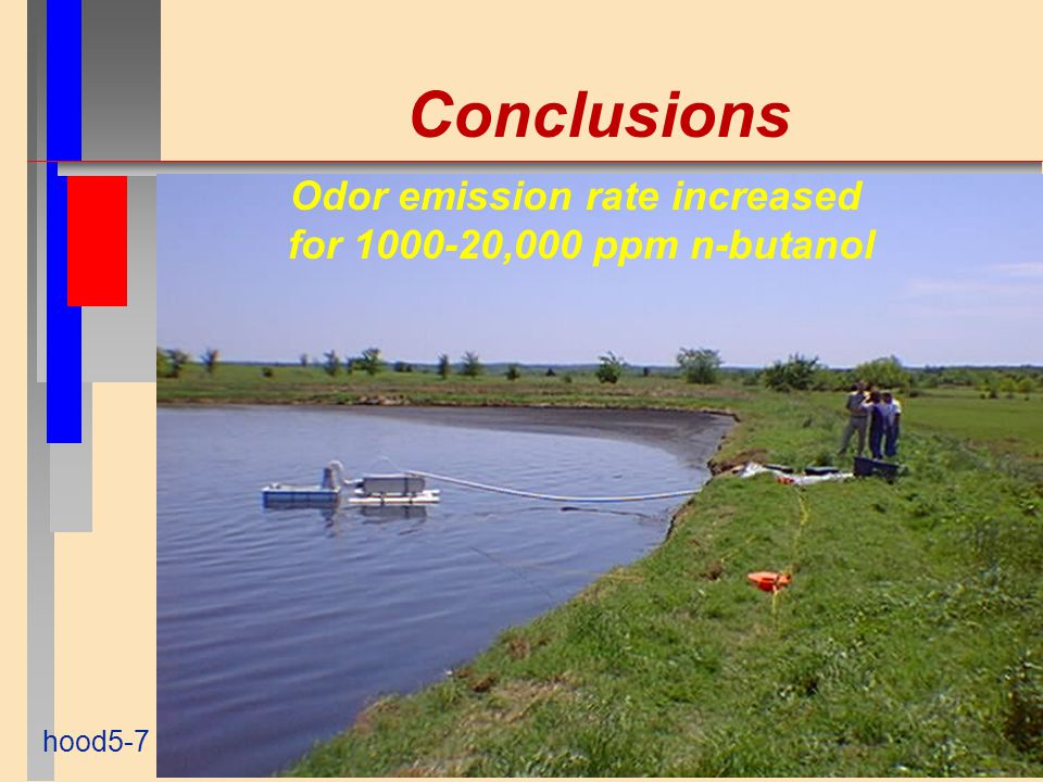 Conclusions hood5-7 Odor emission rate increased for 1000-20,000 ppm n-butanol