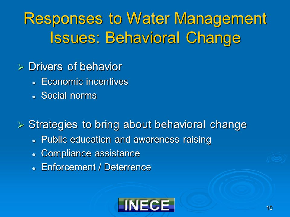 10 Responses to Water Management Issues: Behavioral Change  Drivers of behavior Economic incentives Economic incentives Social norms Social norms  S