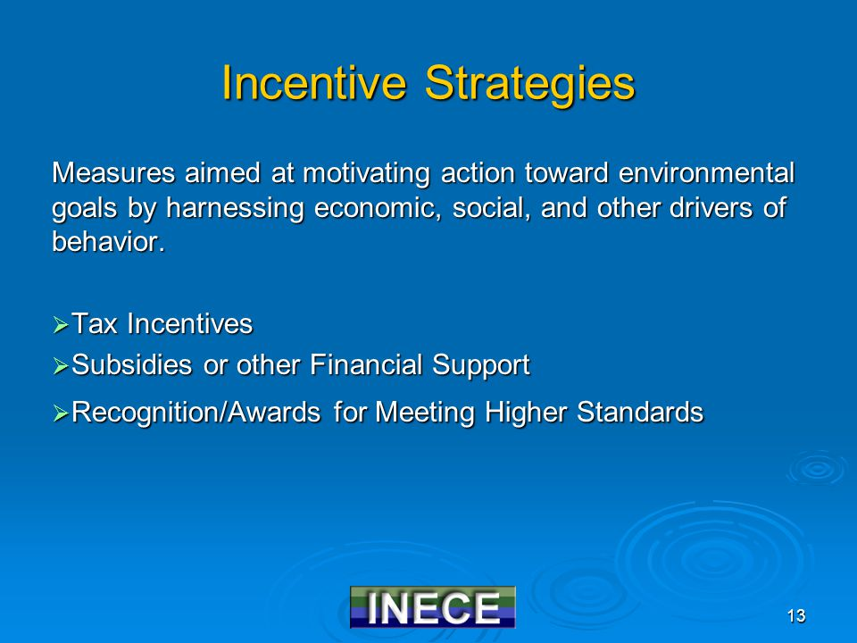 13 Incentive Strategies Measures aimed at motivating action toward environmental goals by harnessing economic, social, and other drivers of behavior.