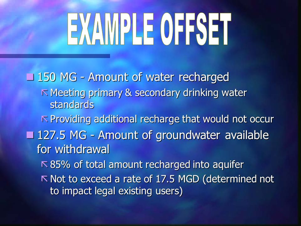 n150 MG - Amount of water recharged ãMeeting primary & secondary drinking water standards ãProviding additional recharge that would not occur n127.5 M