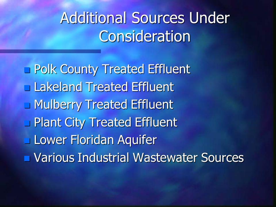 Additional Sources Under Consideration n Polk County Treated Effluent n Lakeland Treated Effluent n Mulberry Treated Effluent n Plant City Treated Effluent n Lower Floridan Aquifer n Various Industrial Wastewater Sources