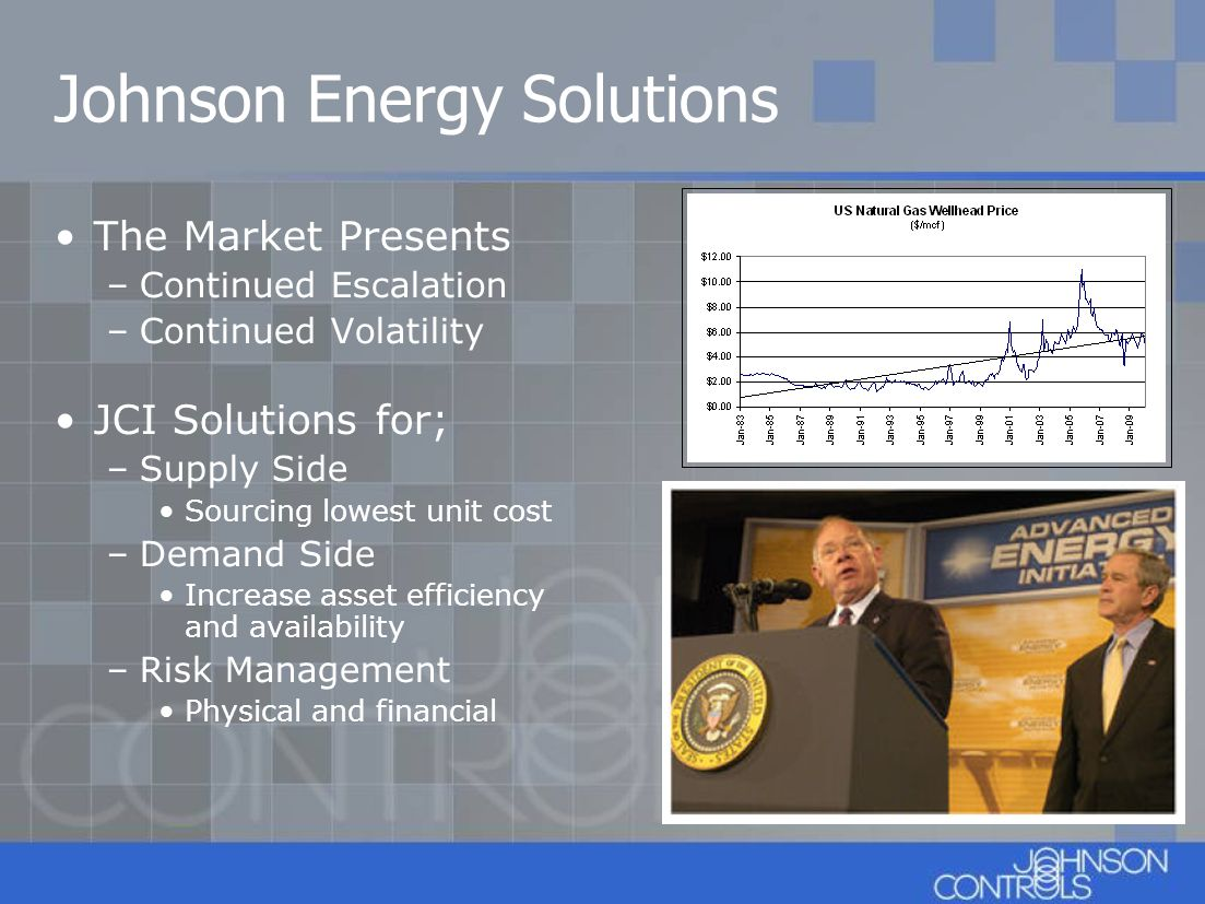 Johnson Energy Solutions The Market Presents –Continued Escalation –Continued Volatility JCI Solutions for; –Supply Side Sourcing lowest unit cost –De